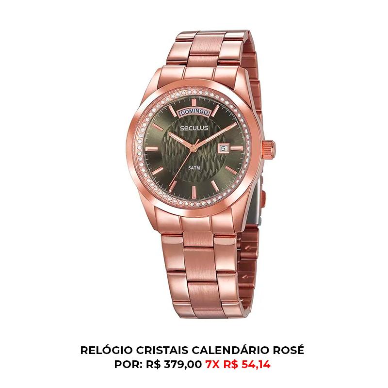 RELÓGIO CRISTAIS CALENDÁRIO ROSÉ 1 - Cronógrafo e outras funções: o que seu relógio analógico é capaz de fazer?