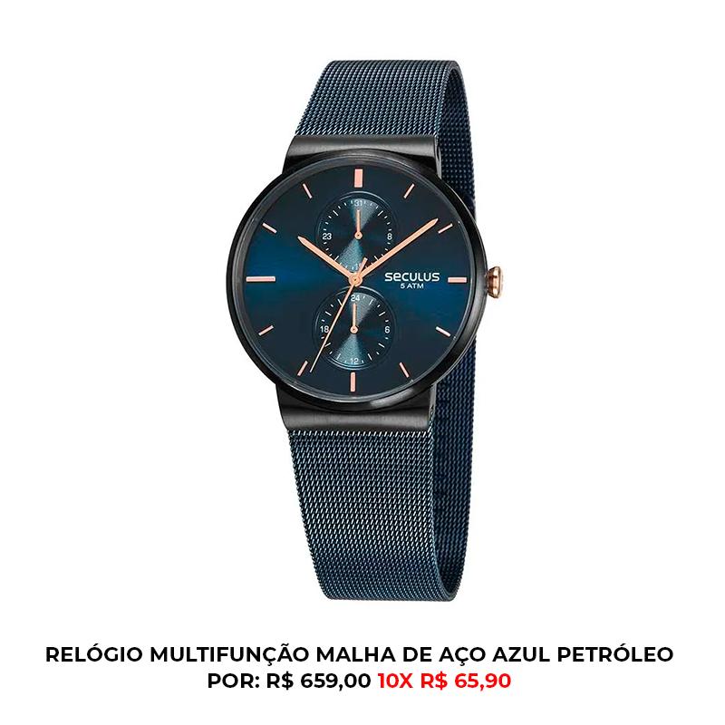 RELÓGIO MULTIFUNÇÃO MALHA DE AÇO AZUL PETRÓLEO 1 - Cronógrafo e outras funções: o que seu relógio analógico é capaz de fazer?