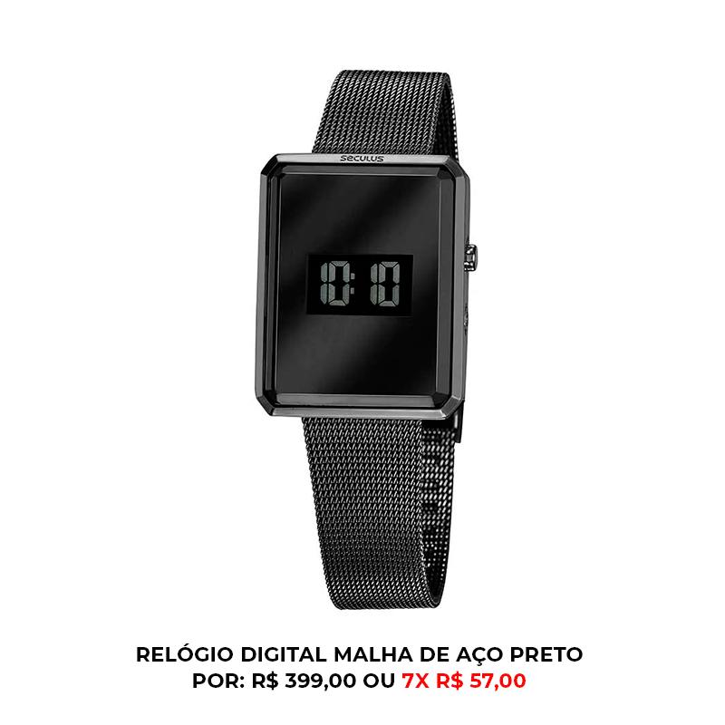 relógio analógico e digital preto