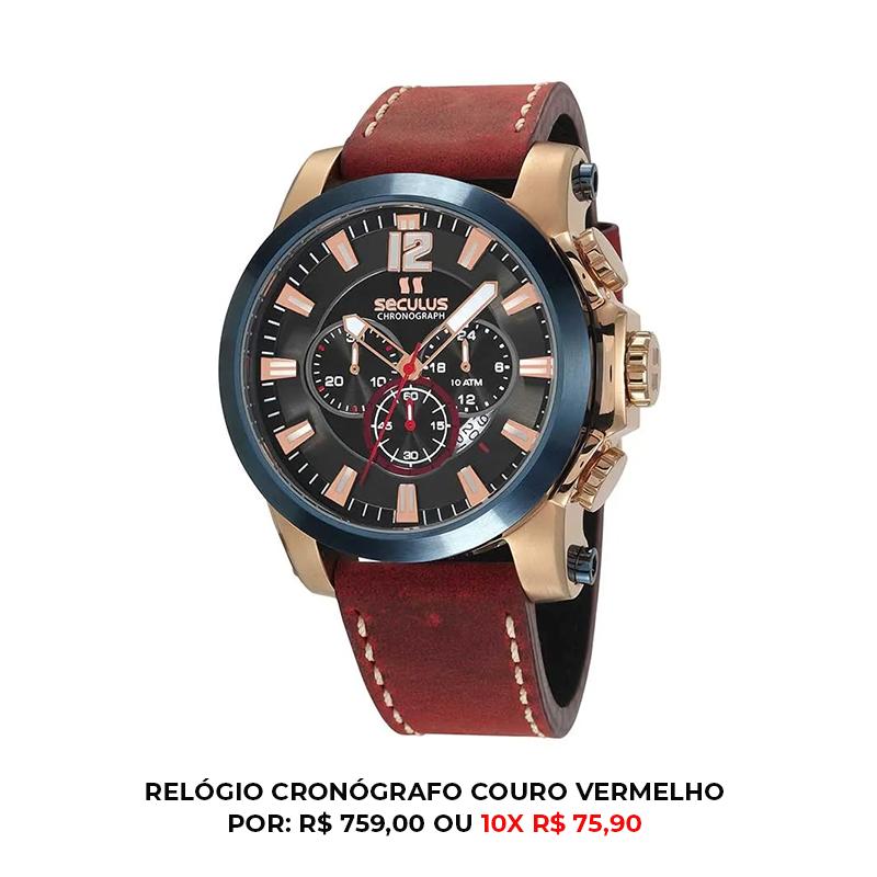 Relógio de couro vermelho