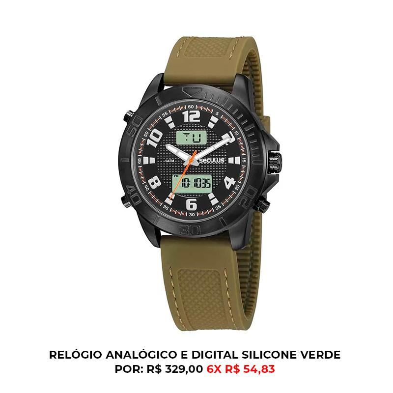 relógio analógico e digital