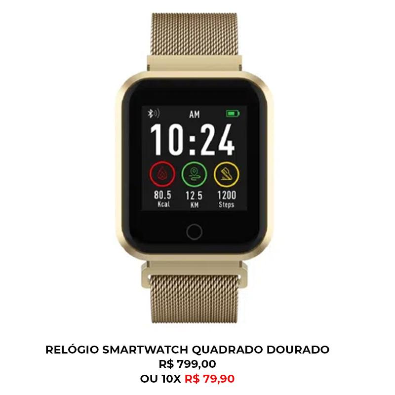 RELÓGIO SMARTWATCH QUADRADO DOURADO - Smartwatch em casa: como ele pode dar um up na sua rotina